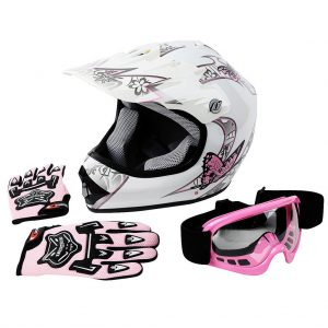 youth dirt bike helmet and goggles combo